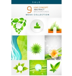 Mega collection of leaf abstract backgrounds vector image
