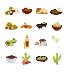Mexican Food Flat Icons Set vector