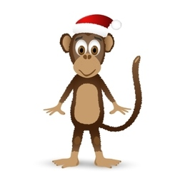 Monkey with santa hat isolated on white background vector