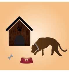 one dog and doghouse eps10 vector image