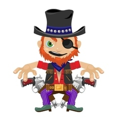 One-eyed bandit with guns character in wild West vector