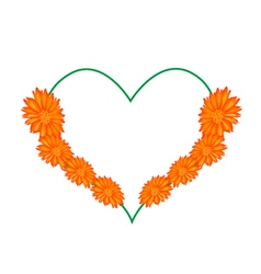 Orange Daisy Flowers in A Heart Shape vector