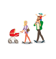parents walking with little childrens vector image