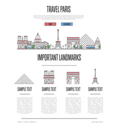 Paris travel infographics in linear style vector