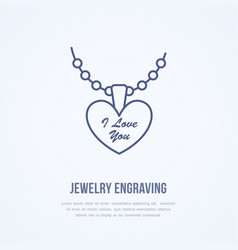 Pendant on chain jewelry flat line vector