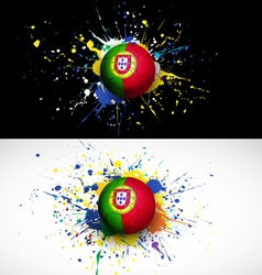 Portugal flag with soccer ball dash on colorful vector image