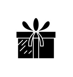 present box black icon sign on isolated vector image