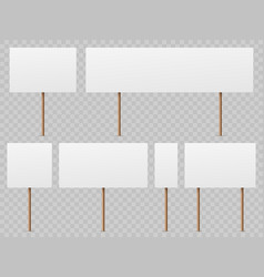 Protest banners blank white placard with wooden vector