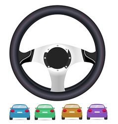 Realistic steering wheel and set of back of cars vector image