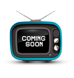 Retro tv with coming soon title on screen vector