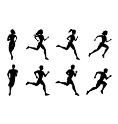Running people silhouettes vector