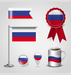 russia country flag place on map pin steel pole vector image