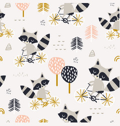 seamless childish pattern with cute raccoons vector image