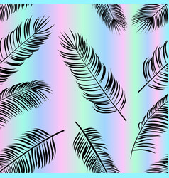 seamless pattern with palm leaves on holofraphic vector image