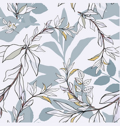 Seamless pattern with pink roses and blue leaves vector