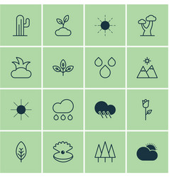 set of 16 nature icons includes sun oak vector image
