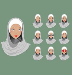 Set of emoticons muslim girls vector