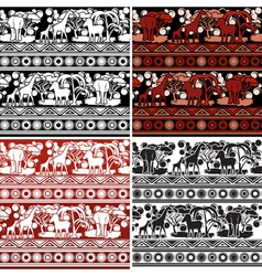 Set of patterns in African style vector image