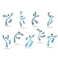 set stylized blue icons dancing people vector image