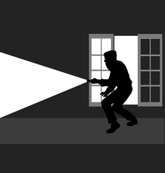 Silhouette of a thief break into the house vector