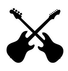 Silhouette of two guitars vector