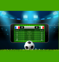 soccer football mobile live scoreboard vector image