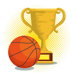 Sport trophy cup champions with basket ball vector