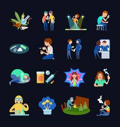 Substance use images set vector
