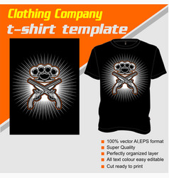 T-shirt template fully editable with gun and vector