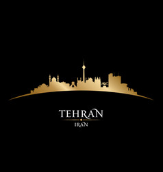 Tehran iran city skyline silhouette black vector