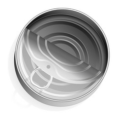 Tin can with a ring realistic look place vector