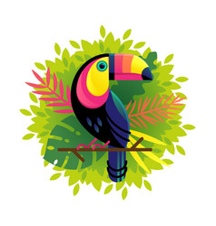 Toucan on a floral background vector