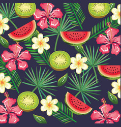 tropical garden with watermelon and kiwi vector image