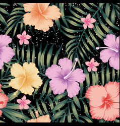 tropical leaves hibiscus frangipani seamless vector image