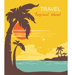 tropical paradise palms island poster vector image