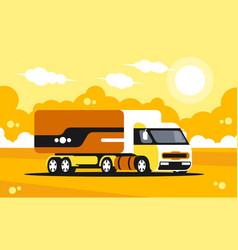 truck driving on asphalt road vector image