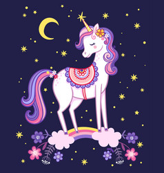 Unicorn is standing on a rainbow on background vector