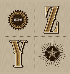 Western alphabet letters vintage design y z vector
