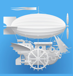 White complex fantastic flying ship vector