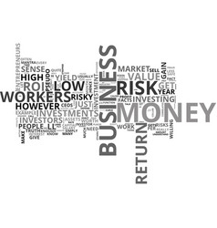 Why high risk lead to high gain text word cloud vector