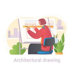 woman draws blueprint vector image