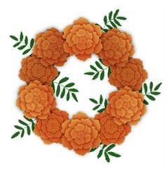 wreath of orange marigolds vector image