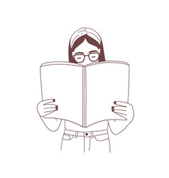 Young girl with headband and glasses reading book vector
