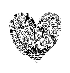 Zentangle heart shape sketch for your design vector image