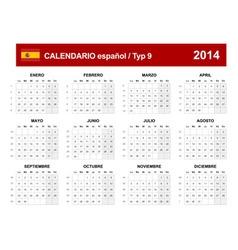 Calendar 2014 Spain Type 9 vector image