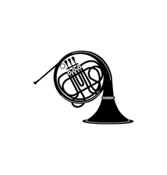 French horn icon black simple style vector image
