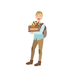 Guy With Crate OF Fresh Vegetbles Bought On The vector image