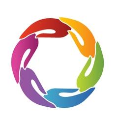 Hands teamwork around logo vector image