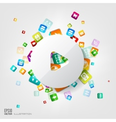 Play button icon Application buttonSocial media vector image