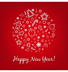 Red Happy New Year Card vector image